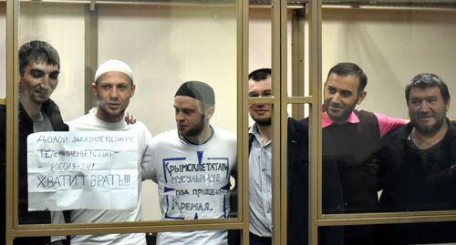 "Defendants in the case of the ""Yalta unit"" during the verdict. Photo by Konstantin Volgin for the ""Caucasian Knot"""