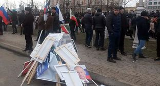 "Posters and banners after a rally in Grozny on January 22, 2016. Photo by Nikolay Petrov for the ""Caucasian Knot"""