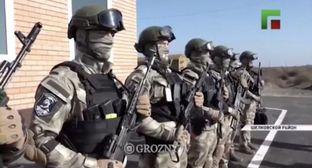 Militaries at the opening of new Chechen police checkpoints in the Shelkovskoy District, which borders on Dagestan. Screenshot of the video on the Instagram groznytv https://www.instagram.com/groznytv/