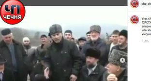 "Statement of a member of the Orstkhoi teip. Screenshot from video posted in ""ChP Chechnya"" Instagram account, https://www.instagram.com/p/B5FPneGFYRQ/"