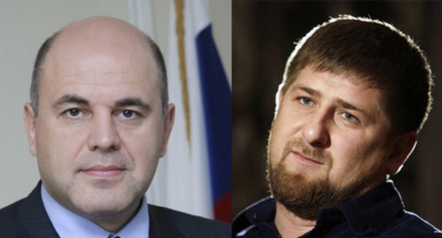 Mikhail Mishustin (left) and Ramzan Kadyrov. Collage made by the Caucasian Knot. Photo: REUTERS/Denis Sinyakov, nalog.ru https://ru.wikipedia.org/
