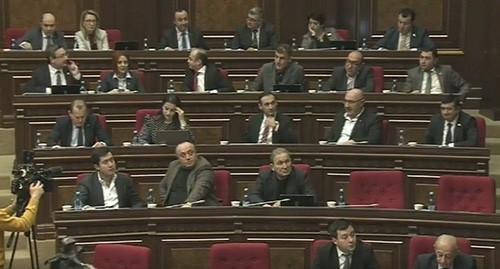 A session of the Armenian parliament. Screenshot of the video posted on the Parliament of Armenia YouTube channel https://www.youtube.com/watch?v=f3jb0AtXRxA&feature=emb_title