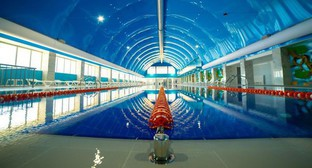 "A swimming pool at the ""Anji Arena"" sports complex. Photo https://anji-arena.ru/spa-tsentr-arena.html"