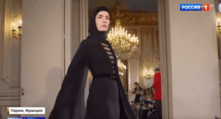 "The show of the clothing collection of the Chechen ""Firdaus"" fashion house on February 25, 2020. Screenshot of the video https://youtu.be/d0ODhSLr6BU"