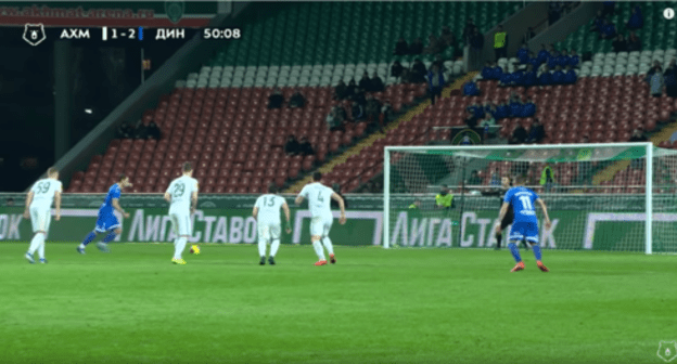 "Screenshot of the video of the match between the Akhmat"" and ""Dynamo"" on March 13, 2020 in Grozny https://www.youtube.com/watch?v=6aqEPCtYaZI"