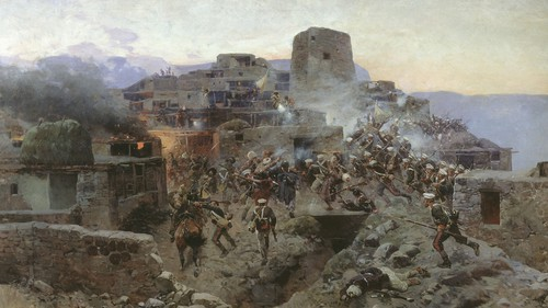 Storming the village of Gimry. A painting by Francois Roubaud https://ru.wikipedia.org/wiki/Битва_за_Гимры#/media/Файл:Sturm_aul_Gimry_1891.jpg