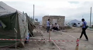 "A tent camp in the Dagestani village of Kullar. Screenshot of the video by the ""Caucasian Knot"""