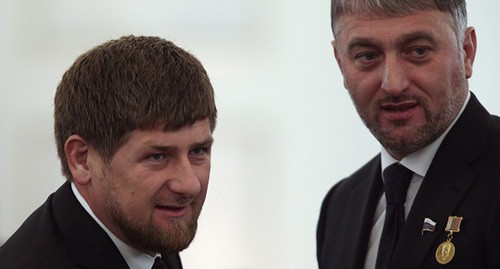 Ramzan Kadyrov (on the left) and his relative, Adam Delimkhanov. Photo REUTERS/Sergei Karpukhin