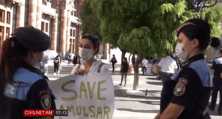 Protest action against development of the Amulsar deposit, August 6, 2020. Screenshot: https://www.facebook.com/CivilNet.TV/videos/582832362386994/