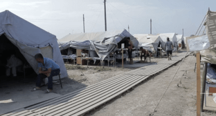 "People at the tent camp near the Dagestani village of Kullar. Screenshot of the video by the ""Caucasian Knot"""