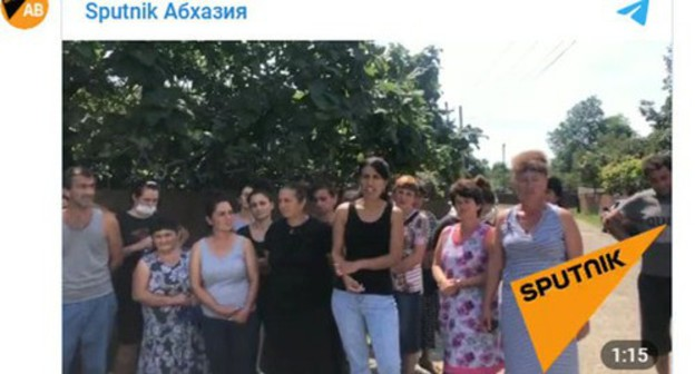 Residents of Abkhazian village demanded to cancel the quarantine regime. Screenshot of the video https://t.me/SputnikAbkhazia/3353