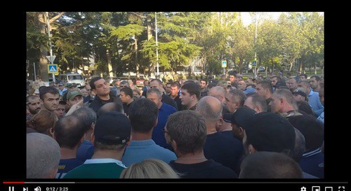 A protest action in Tskhinvali. Screenshot of the video https://www.youtube.com/watch?v=bxIWcW8pGxA