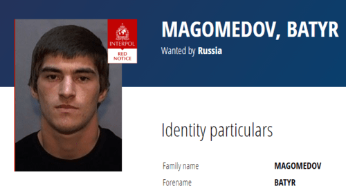 Batyr Magomedov on the Interpol website. Screenshot https://www.interpol.int/How-we-work/Notices/View-Red-Notices#2020-60566