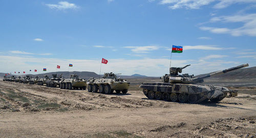 Military vehicles with flags of Azerbaijan and Turkey. Photo: press service of the Ministry of Defence of Azerbaijan