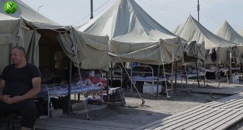 "A tent camp in Kullar. Screenshot of the video by the ""Caucasian Knot"" https://youtu.be/FvC3Fw73mK4"
