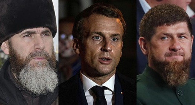 Salakh Mezhiev, Emmanuel Macron and Ramzan Kadyrov (from left to right). Collage made by the Caucasian Knot. Photo: REUTERS/Maxim Shemetov, Abdulmonam Eassa/Pool via REUTERS,   vk.com/salah_mezhiev