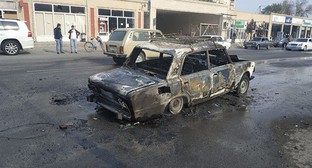 A car destroyed as a result of shelling attack on Barda, October 28, 2020. Photo by Aziz Karimov for the Caucasian Knot