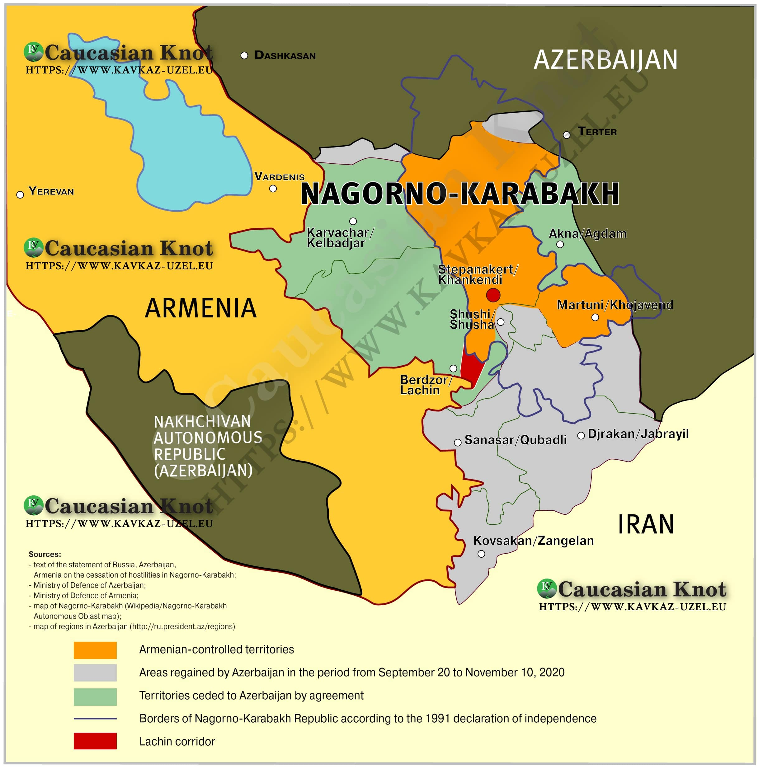Map drawn by the Caucasian Knot based on the agreements between Armenia, Azerbaijan and Russia