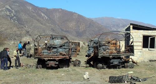 Exploded military vehicles in Karvachar. Photo by Armine Martirosyan for the Caucasian Knot