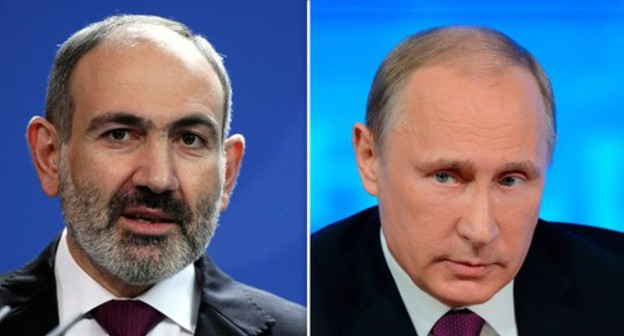 "Nikol Pashinyan, Vladimir Putin. Photo: REUTERS/Annegret Hilse; the Kremlin press service. Collage by the ""Caucasian Knot"""