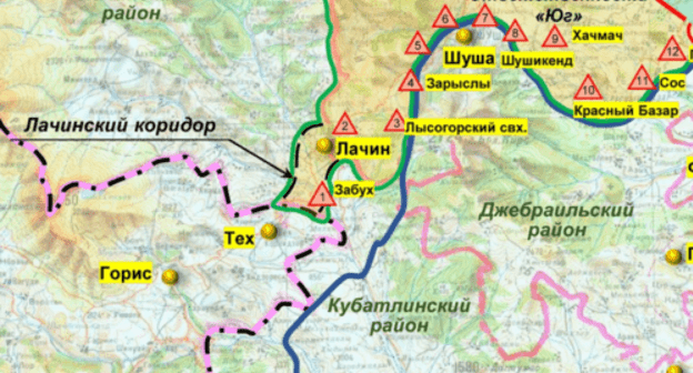 A part of the infographic by the Russian Ministry of Defence, which reflects the situation as of 30 November 2020. The town of Lachin is admitted as part of Nagorno-Karabakh http://mil.ru/files/morf/asdgfadsfadscf2800.jpg