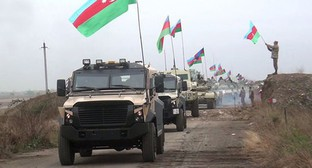 A convoy of Azerbaijani military vehicles. Photo by the press service of the Ministry of Defence of Azerbaijan https://mod.gov.az/ru/news/azerbajdzhanskaya-armiya-vodruzila-azerbajdzhanskij-flag-v-agdame-video-33862.html