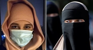 "A girl wearing a medical mask / a girl wearing a niqab. Collage by the ""Caucasian Knot"". Photo by Nina Tumanova / Photo REUTERS, Andrew Kelly"