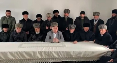 An official statement of the Timurzievs and Sultygov Ingush teips (family clans). Screenshot of the video https://www.facebook.com/ramzan.sultygov/videos/933307603740495