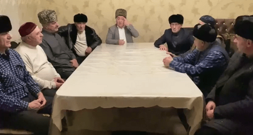 Screenshot of the video appeal published by members of the Ingush teips (family clans) of Timurzievs and Sultygovs on Facebook https://www.facebook.com/ramzan.sultygov/posts/933609963710259