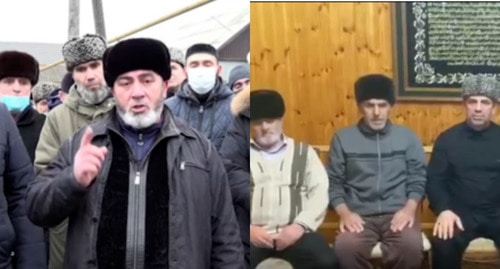 Relatives of the policeman killed in Grozny announce a blood feud. Screenshot: https://www.instagram.com/p/CJd1wcEK2Aa/. Screenshot from Sultygovs' appeal, t.me/fortangaorg/7920. Collage made by the Caucasian Knot