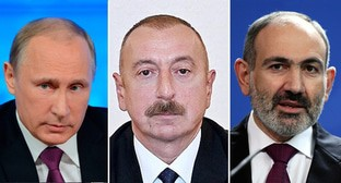 Vladimir Putin, Ilham Aliev and Nikol Pashinyan. Photos: press service of the Kremlin; press service of the Azerbaijani President, Ilham Aliev https://en.president.az/articles/42101