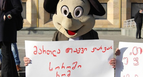 "Participants of a rally in Tbilisi. A banner reading: ""I'm not a mouse to be locked up in a hole."" Photo by Inna Kukudjanova for the ""Caucasian Knot"""