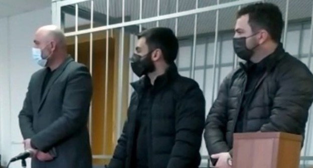 The defendants at the Nalchik City Court hearing. Screenshot of the video courtesy of Alexander Knyazev