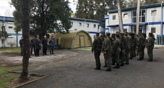 A regiment in the territory of the Russian mobile hospital in Sukhumi. Photo by the press service of Coordination Council of Organizations of Russian Compatriots (KSORS) https://ksors.ru/ksors-pozdravil-sotrudnic-voennogo-gospitalya-mo-rf-s-8-marta/""