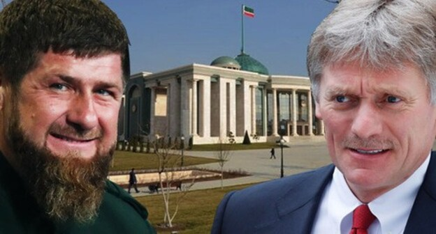 "Ramzan Kadyrov (on the left) and Dmitry Peskov. Collage by the ""Caucasian Knot"". Photos: REUTERS/Maxim Shemetov, REUTERS/Maxim Shemetov, alexsandertupiki https://yandex.ru/"