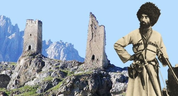 "An Ossetian in North Caucasus in the 18th-century dress, Ramonov Vano (19th century). The Tsagaraev and Gabis towers. The village of Tsymyti, town of Khalgon, Kurtatinsky gorge, North Ossetia. Collage by the ""Caucasian Knot"". Photo: Ahsartag, public domain https://ru.wikipedia.org/"